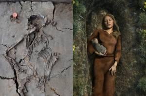 Skelet vrouw swifterbantcultuur en 3D-reconstructie