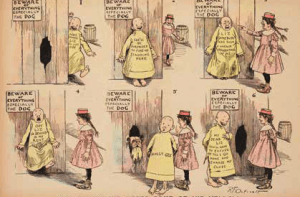 The Yellow Kid, een van de eerste echte striphelden in de The Yellow Kid, een van de eerste echte striphelden in de New York Journal van 31 oktober 1897..
